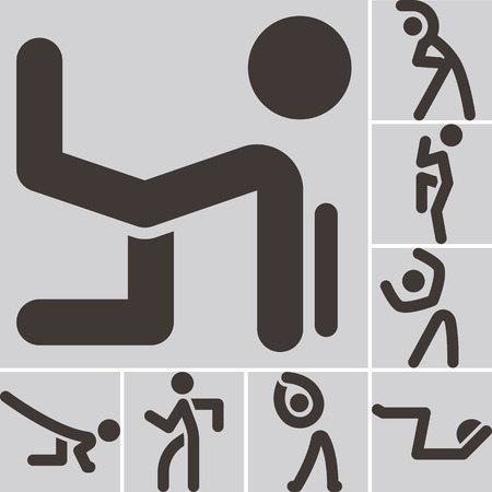 optimized: Health and Fitness icons set - aerobics icons set. Icons optimized for size 32x32 pixels Illustration