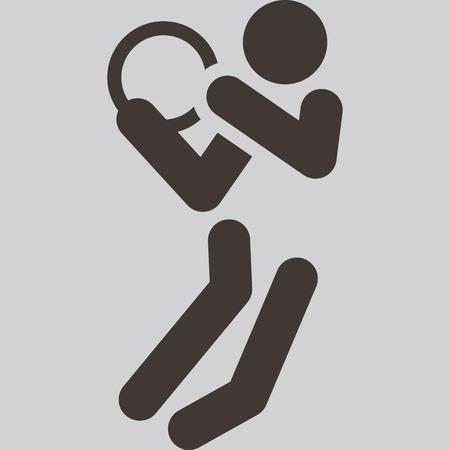 optimized: Summer sports icons set - basketball icon optimized  Illustration