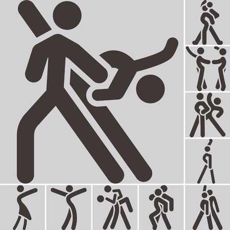 dancing silhouettes: Health and Fitness icons set - sport dancing icon