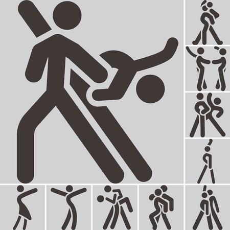 baile latino: Salud y estado físico iconos conjunto - icono de baile deportivo