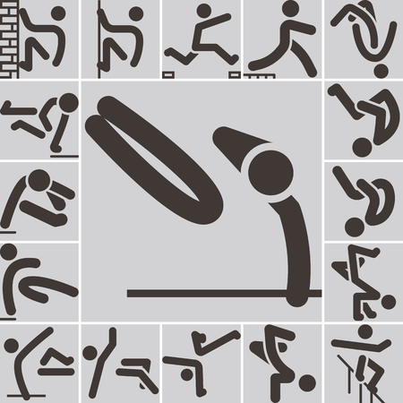 parkour: Extreme sports icon set - parkour icons set