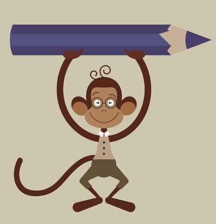 Monkey with pensil - back to school illustration Illustration