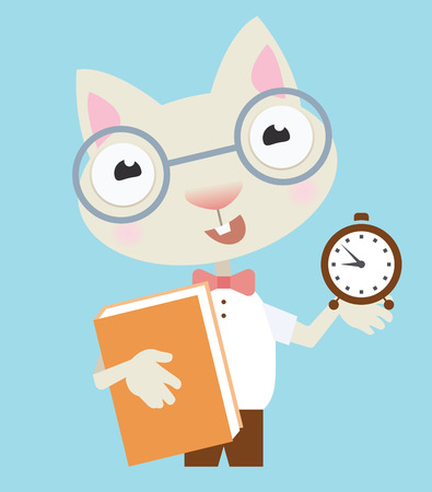 Scientist cat - back to school illusration