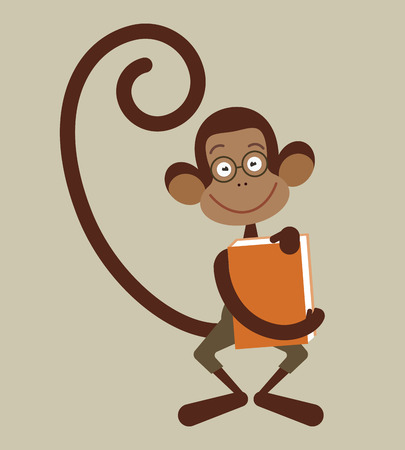 pensil: Monkey with pensil - back to school illustration Illustration