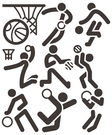 Summer sports icons set - basketball icons set Illustration