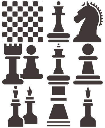 chessmen: Chess icons set - chess board and chessmen