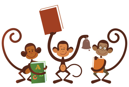 student book: Isolated monkey - back to school illustration