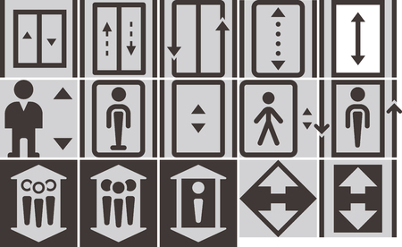 up and down: Elevator - up - down icons set