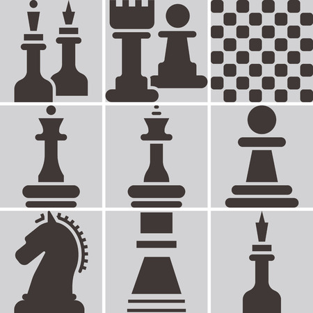 chess board: Chess icons set - chess board and chessmen