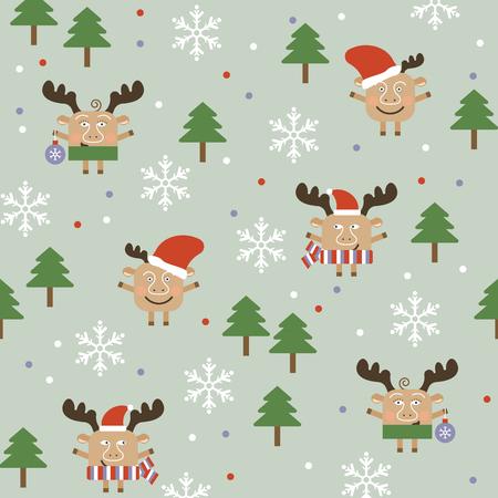 furtree: Merry Christmas deer seamless background