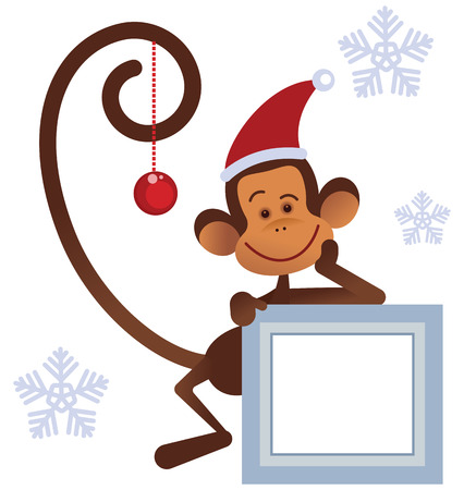 christmas gifts: Merry Christmas  monkey with gifts Illustration