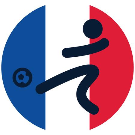 flag french icon: Football icon on French flag background Illustration