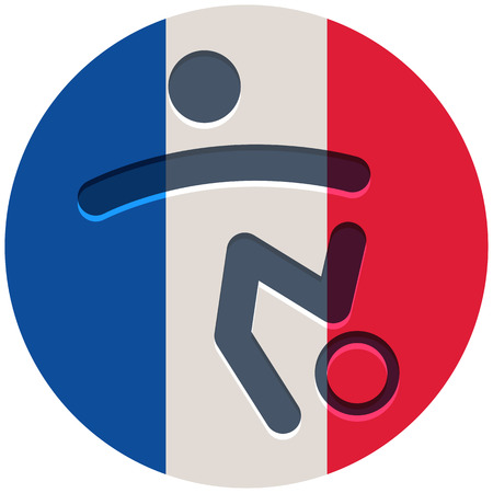 french flag: Football icon on French flag background Illustration