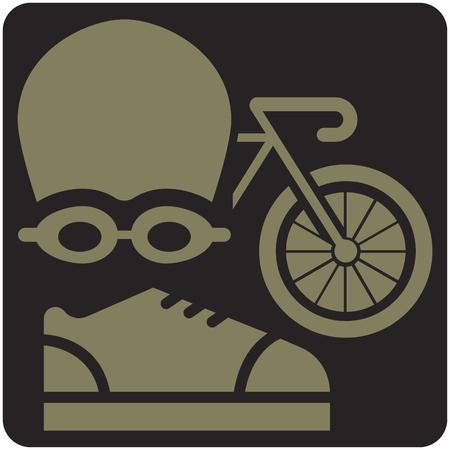 Cones de esportes de verão - ícone de triatlo Foto de archivo - 91776957