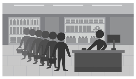 Queue to the cashier in store