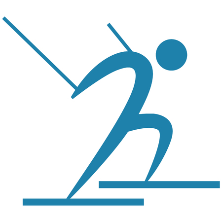 Winter sport icon - Cross-country skiing icon Vectores