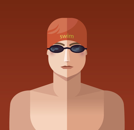 Sportsman icon swimming.