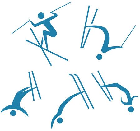 Winter sport icons, freestyle icons set illustration. Çizim