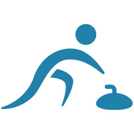 Winter sport, curling icon illustration design. Illustration