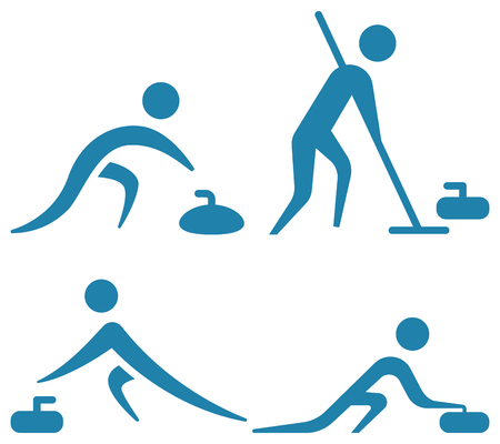 Set of winter sport curling icons. Çizim