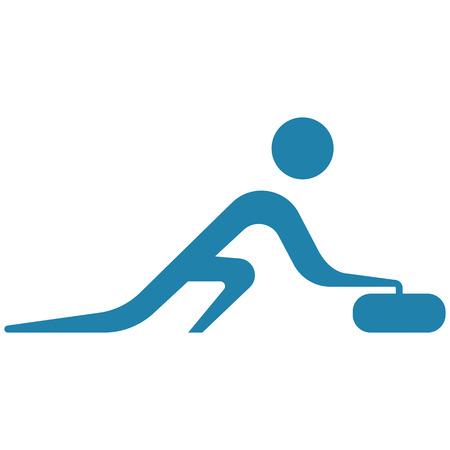 Winter sport curling icon illustration.