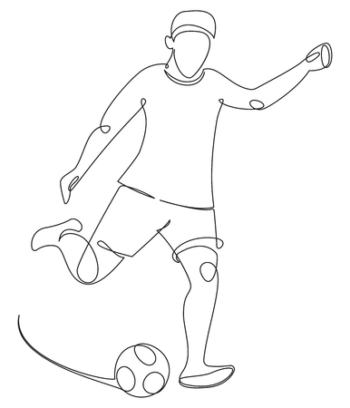 Soccer player with a ball drawing in one line
