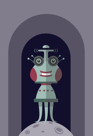 Funny cartoon alien. Cartoon funny illustration for cartoon print. Stock Vector - 102437116