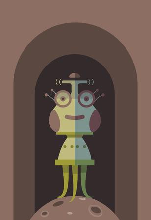 Funny cartoon alien. Cartoon funny illustration for cartoon print.