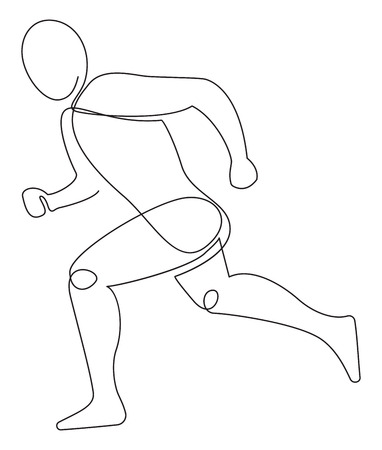 Running athletel drawing in one line style, vector illustration