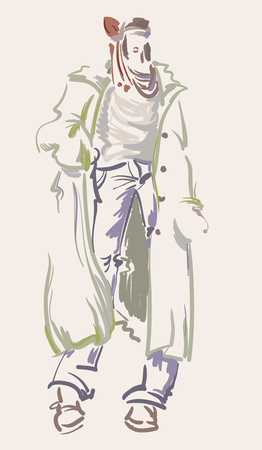 Fashion designer sketch. Model on the podium - vector illustration