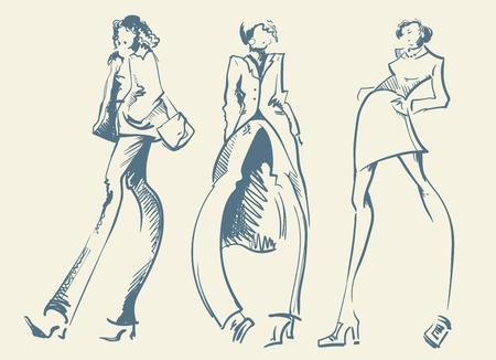 Fashion designer sketch. Models on the podium - vector illustration