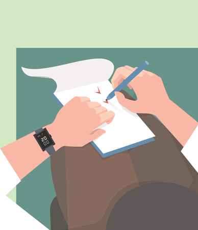 Diary. Completing tasks. The vector color illustration
