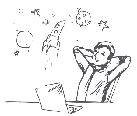 The boy dreams of the cosmos. Work to achieve the goal. Outline illustration