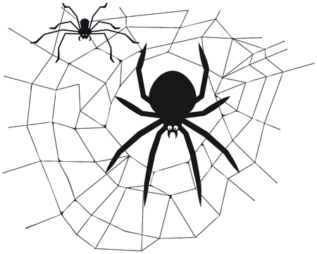 Spider in the center of the web - vector illustration Иллюстрация