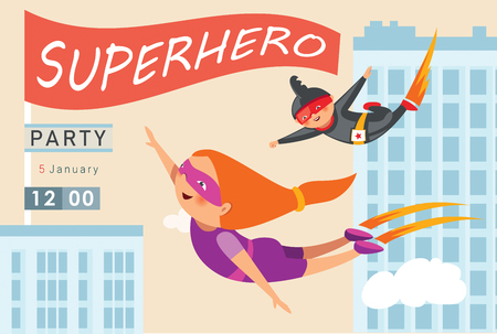 Superhero party background for invitation card Stock Vector - 108102185