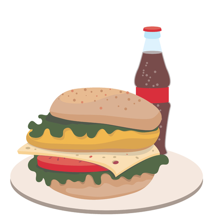 Sandwich and ketchup icon. Color illustration