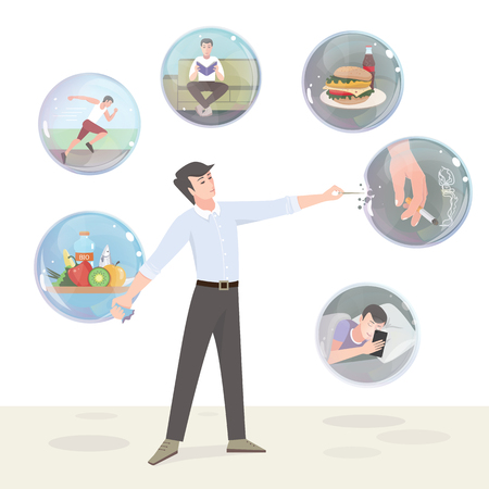Cattive abitudini e uno stile di vita sano. Illustrazione a colori Vettoriali