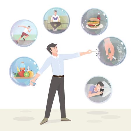 Schlechte Gewohnheiten und ein gesunder Lebensstil. Farbabbildung Vektorgrafik