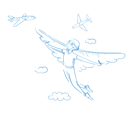 Reaching a dream. A boy with wings flying towards his dream. Outline illustration contour; vector Vector Illustration