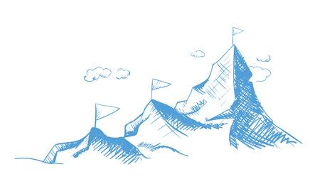Atteindre un rêve. Montez et avancez. Montagnes et sommets conquis. Illustration de contour