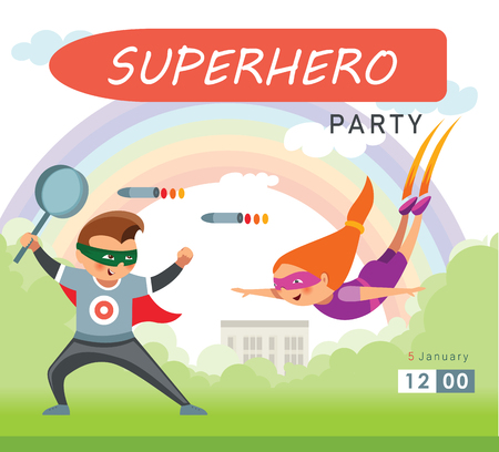 Superhero party background for invitation card