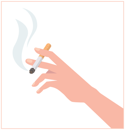 Hand with a cigarette. The illustration propagandizing refusal of smoking.