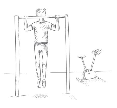 Lo sportivo si accosta alla sbarra. Lavora per raggiungere l'obiettivo. Illustrazione di contorno