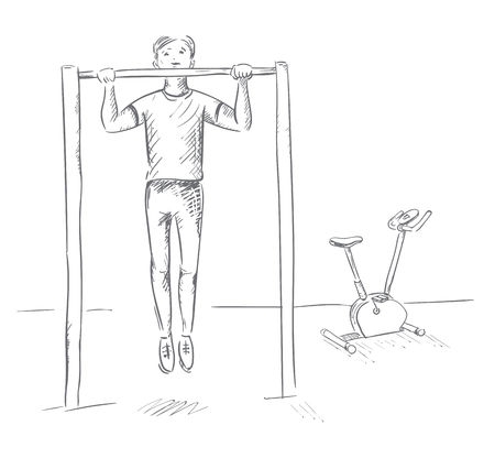 The sportsman pulls up on the bar. Work to achieve the goal. Outline illustration