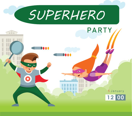 Superhero party background for invitation card Stock Vector - 108288409