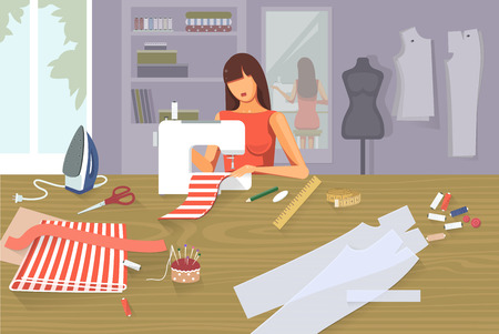 Sewing background - tailoring fashion clothes