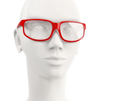 mannequin head: close-up of white mannequin head of a woman wearing red glasses