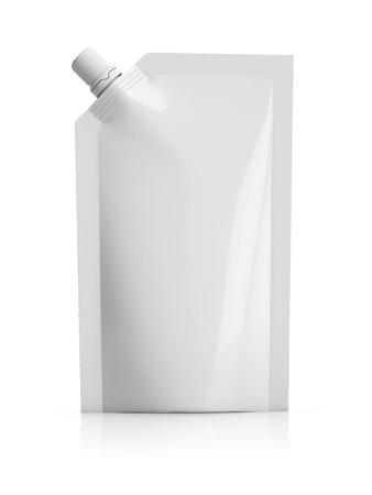 herbruikbare witte lege plastic doypack staan zakje met uitloop. Flexibele verpakkingen voor voedsel of drinken. klaar om door u worden gepersonaliseerd Stockfoto