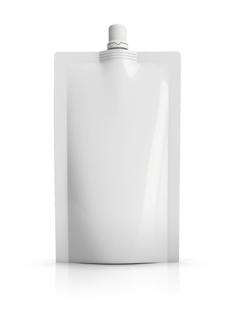 reusable: reusable white blank plastic doypack stand up pouch with spout. Flexible packaging for foods or drink. ready to be personalized by you