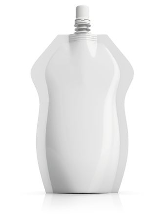 Packaging plastic bag, spouted special shape stand up pouch with spout, isolated on white background.